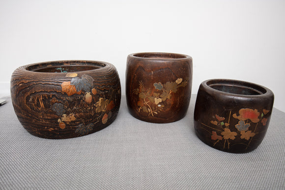Japanese Wood and Lacquer Planters Domaru Hibachis with Copper Inserts Set of 3