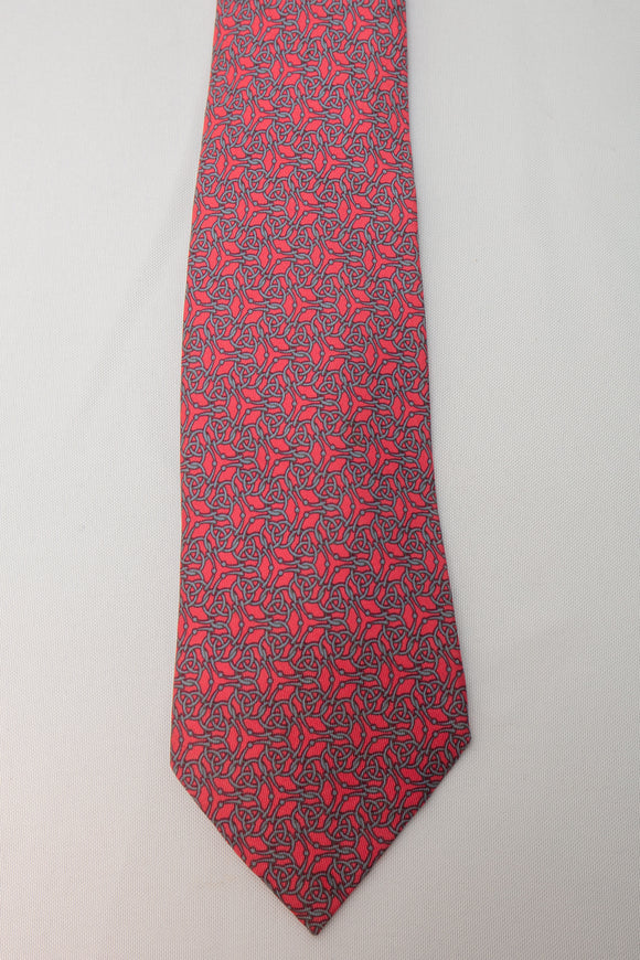 Hermes Silk Tie Pink with Geometric Design
