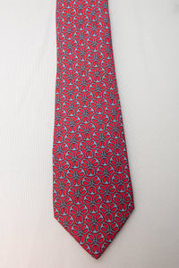 Hermes Silk Tie Red with Light Blue Geometric Design