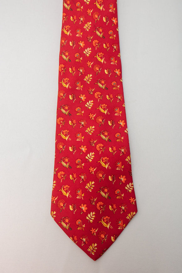 Salvatore Ferragamo Silk Tie Red with Flowers and Leaves