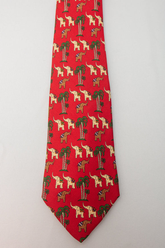 Salvatore Ferragamo Silk Tie Red with Elephants and Palm Trees