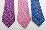 Thomas Pinks Silk Ties Lot of 3 Featuring: Tortoise and Hare, Flamingo, and Bees