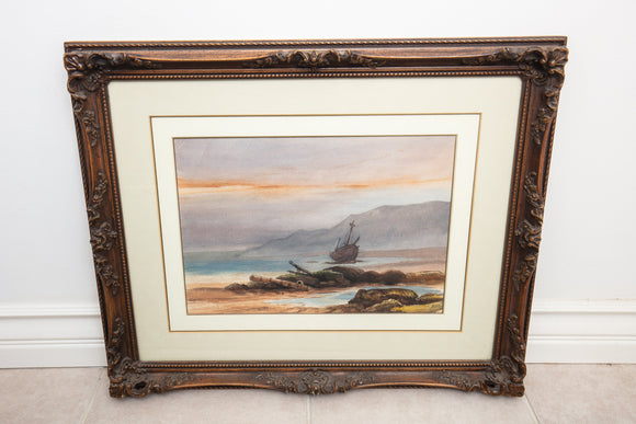 Original Watercolor of Boat and Seascape