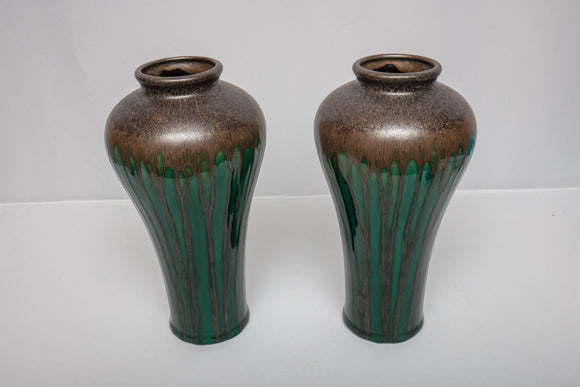 Green Glazed Vase Pair