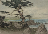 Signed Northern California Cyprus Tree and Ocean Colored Etching