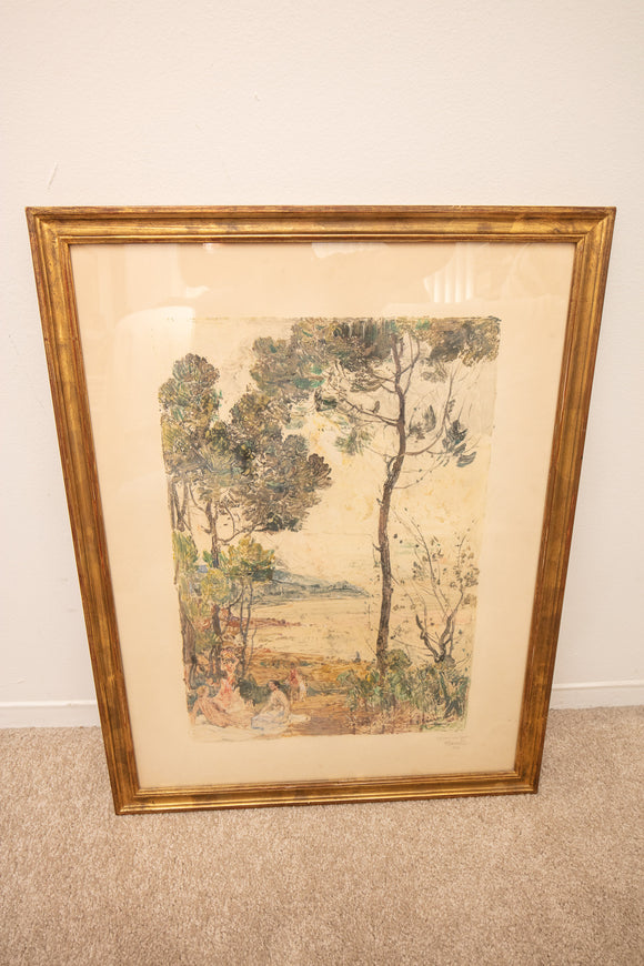 Paul Charavel (1877 -1961) Signed French Landscape Print in Gilt Frame