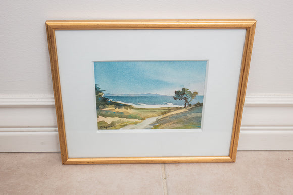 Chris Chapman Signed Watercolor of a Seascape Part of the Oak Group