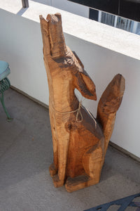Carved Coyote Dog Sculpture