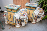 Elephant Glazed Plant Stand Pair AS IS