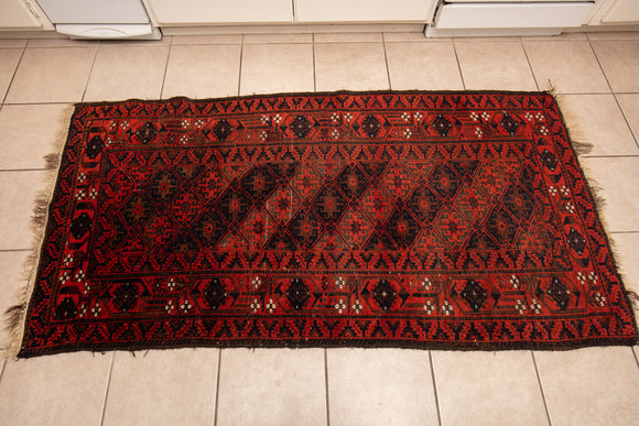 "Antique Baluch Red Field Hand Woven Rug 6'1"" x 3'3"""