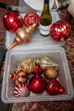 Box of Large Plastic Christmas Ornaments for Outside