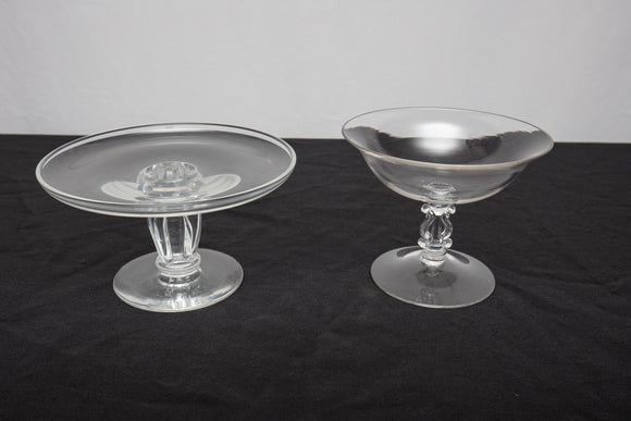 Steuben Glass Compote Tazza and Glass Compote