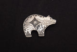 WDL Signed Native American Hammered Bear Pin Brooch