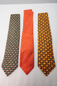 Ermenegildo Zegna Silk Ties with Geometric Design Lot of 3