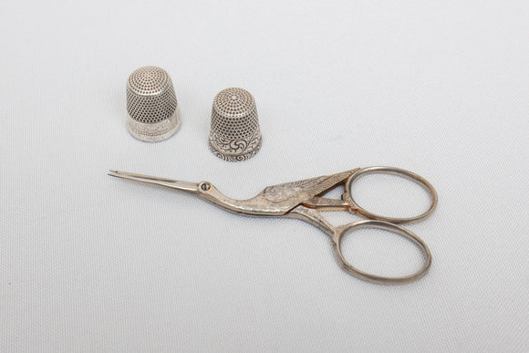 Columbian Exhibition Silver Thimble, Other Sterling Thimble, and Scissors