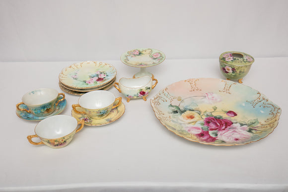 Hand Painted Floral Lot of Mostly Limoges Porcelain Lot of 12 Pieces