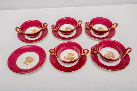 "Wedgwood ""W31"" Powder Ruby Red  5Bullion Soup Bowls and  6 Saucers"