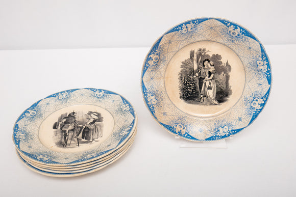 Antique Blue Transferware Portrait and Figural Salad Plates Set of 6 As Is