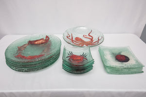 Collection of Art Glass Sea Life Serving Pieces Signed JBG Lot of 17 Pieces