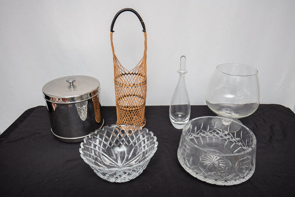 Group of Barware and Crystal Bowls