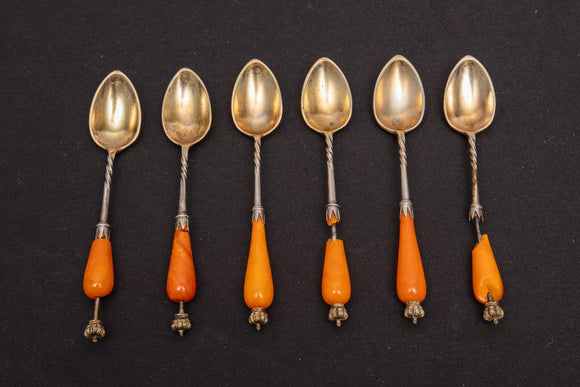 Fehrmann 800 Silver Spoons with Amber Handles As Is Set of 6