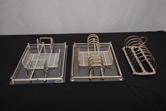 Silverplate Utensil Rack Pair and Antique Toast Rack