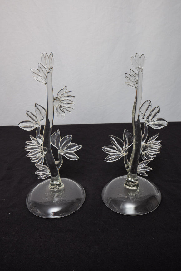 Antique Handblown Tree Sculpture Pair