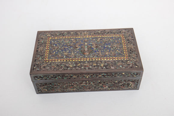 French Indo-China Hammered and Enameled and Hammered Silver Box