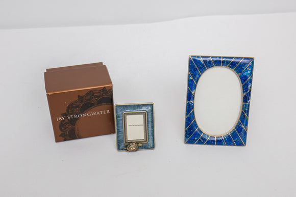 Lapis Stone and Jay Strongwater Picture Frame Pair