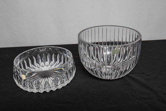 "Mikasa ""Park Lane"" and Crystal Salad Bowl Pair"