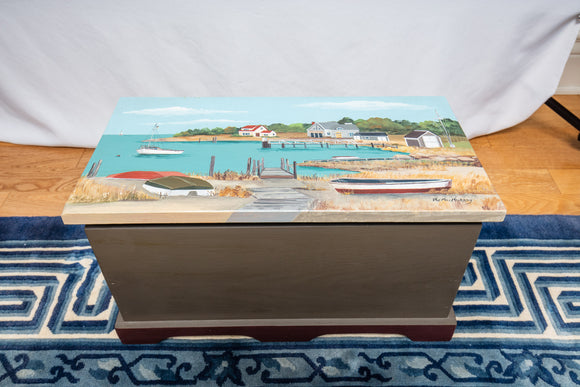 Pat MacMurry Signed Hand Painted Cape Cod Trunk