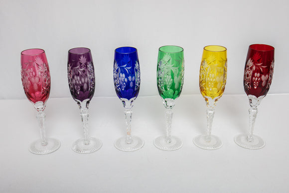 Multicolored Bohemian Etched Cut to Clear Crystal Champagne Flutes Set of 6