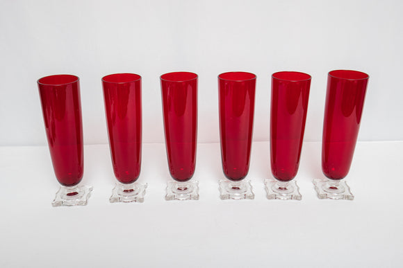 Ruby Red Beer Glasses Set of 6