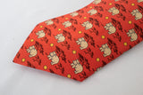 Hermes Paris France Orange/Red Hippo Silk Tie
