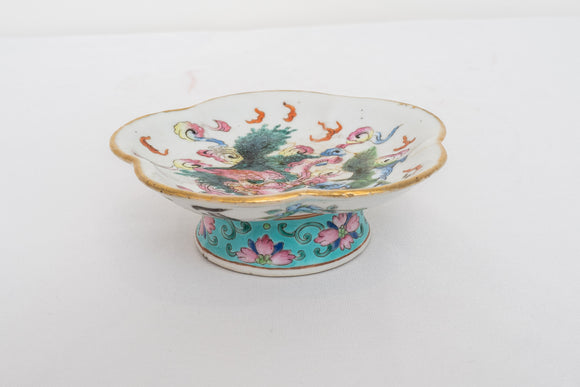 Antique Chinese Dragon Footed Dish Signed CRACK