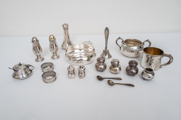 Sterling Silver Lot of Salt and Pepper Shakers, Porringer, Baby Cup, Sugar Bowl, and Misc AS IS