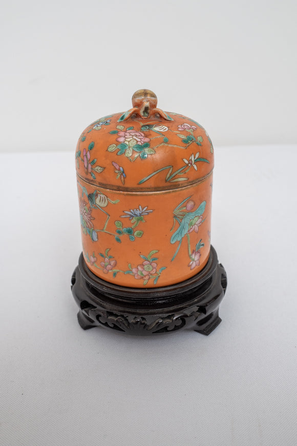 Chinese Signed Orange and Floral Covered Jar AS IS DAMAGED