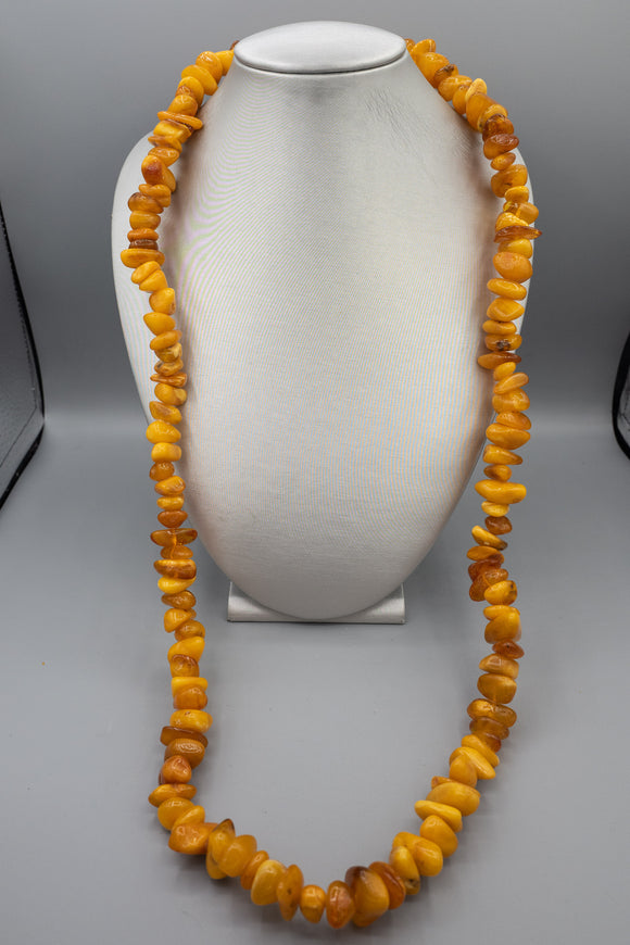 Vintage Russian Natural Egg Yolk Freeform Amber Strand Necklace 38