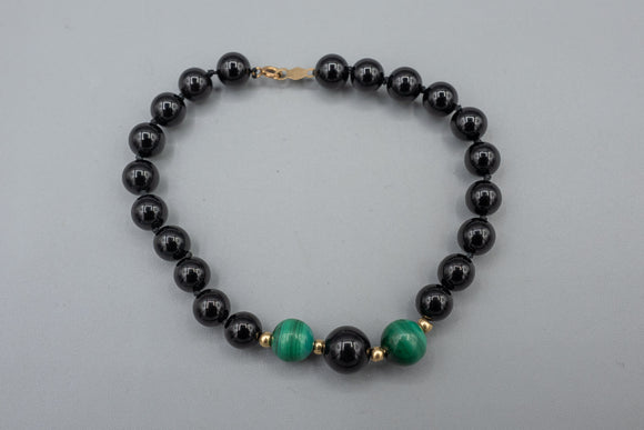 Vintage 14K Gold Clasp and Spacer Hand Knotted Black Onyx and Malachite Beads Bracelet