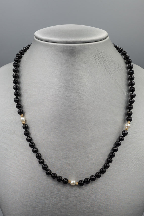 Vintage Hand Knotted Black Bead and Pearl Necklace with 14K Gold Spacer and Clasp