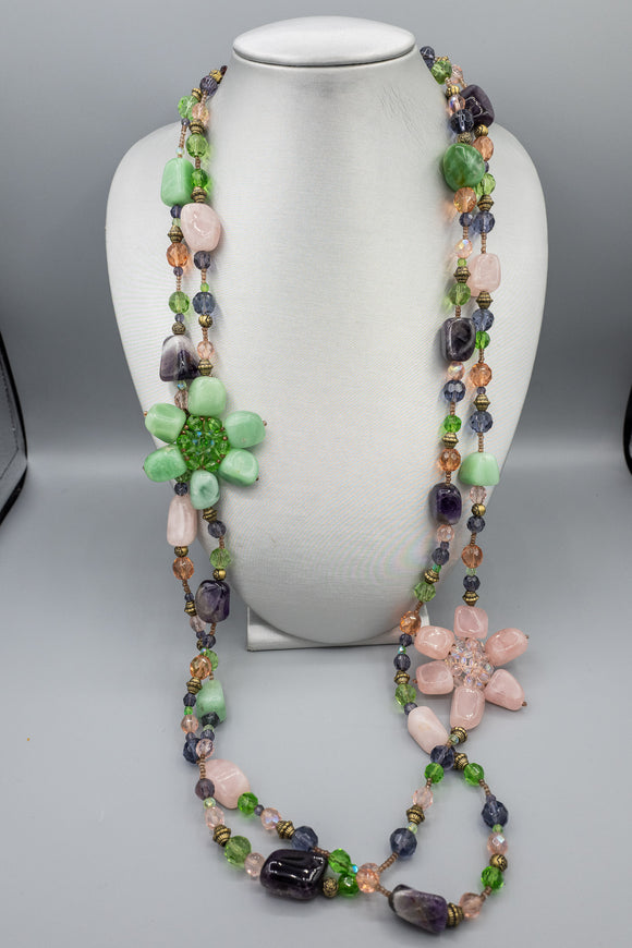 XL Double Strand Jade, Amethyst, Rose Quartz Freeform Polished Beads Necklace
