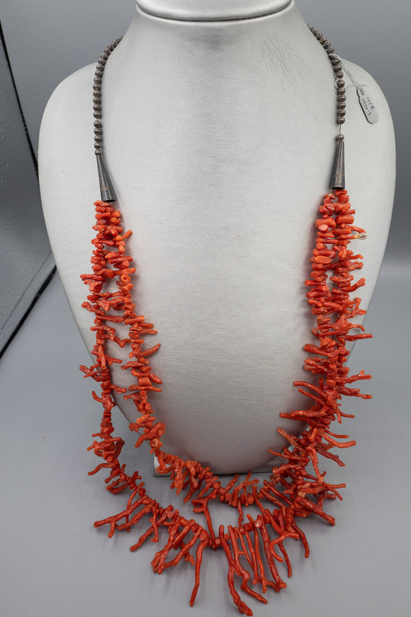 Sterling Silver Branch Coral Tiered Necklace