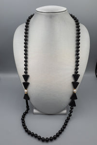 Art Deco Black Onyx Bead, Pearl with 14K Gold Spacers Necklace