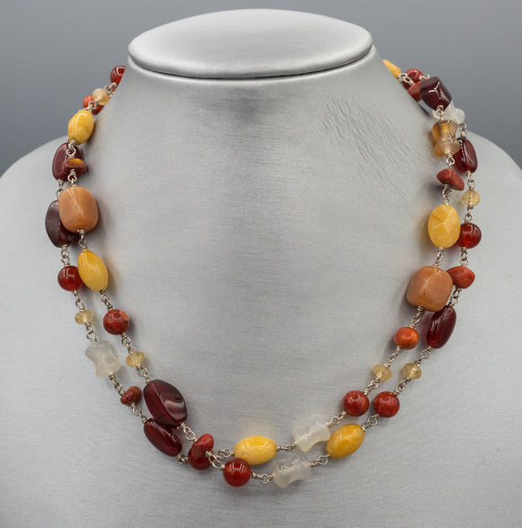 Sterling Silver Multi Semi Precious Stone Necklace