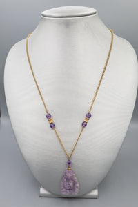 Vintage Carved Amethyst Buddha Necklace