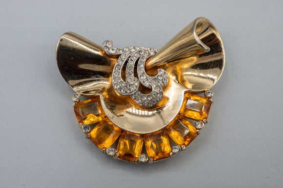 Mazer Rare Citrine Glass And Rhinestone Fur Clip Brooch Pin