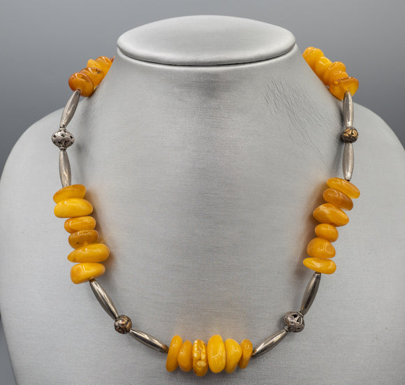 Vintage Egg Yolk Amber Silver Necklace