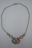 Vintage Coro Multi Color Rhinestone Fruit Salad Choker Necklace 17""