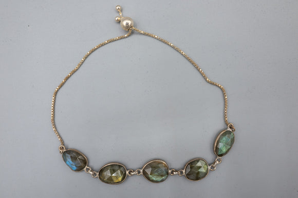 Labradorite Freeform Faceted Sterling Silver Bracelet with Adjustable Clasp