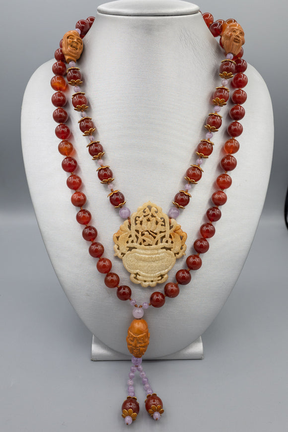 Vintage Asian Carnelian, Jade and Wood Necklace